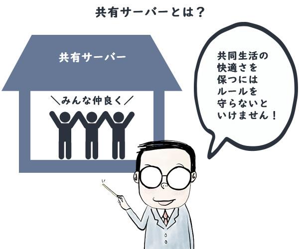 共有サーバーはアパートの共同生活に例えられます。快適さを保つためにはルールを守らないといけません。